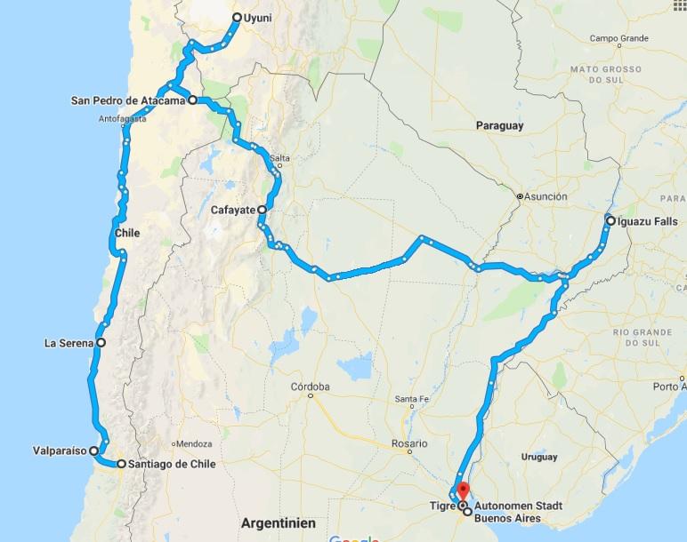 Reiseroute Argentinien-chile