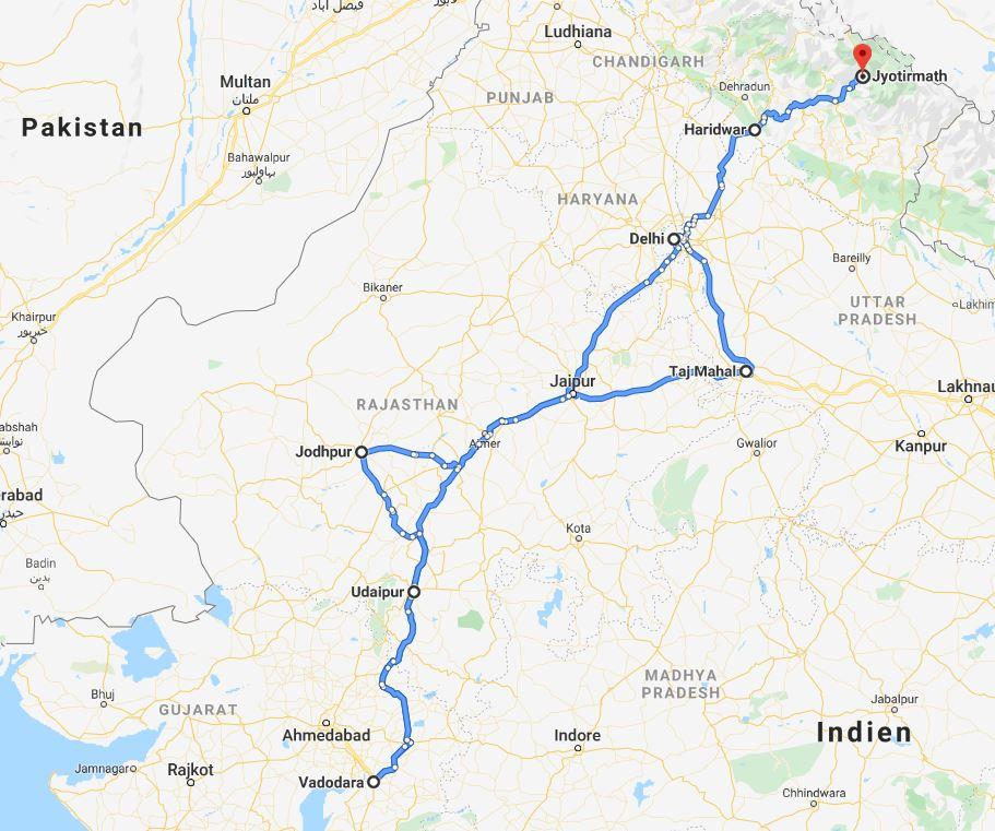 Reiseroute Indien Rajasthan
